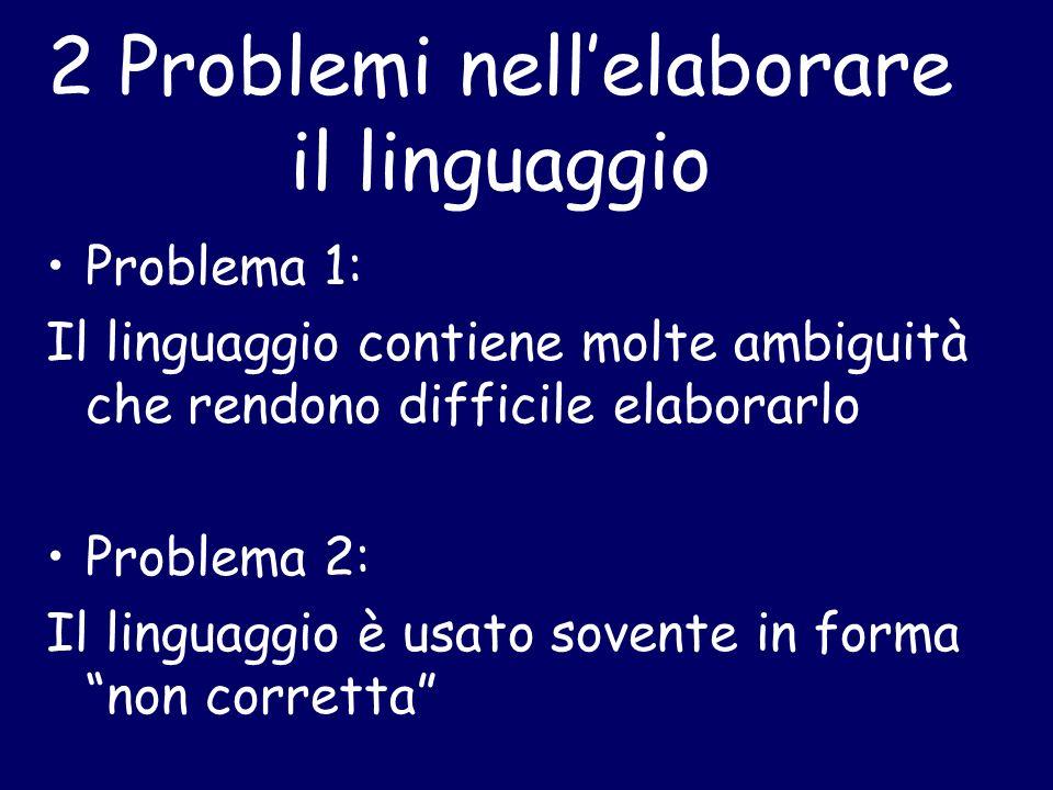 2 Problemi nellelaborare il linguaggio Problema 1: Il linguaggio contiene molte ambiguità che rendono difficile elaborarlo Problema 2: Il linguaggio è usato sovente in forma non corretta