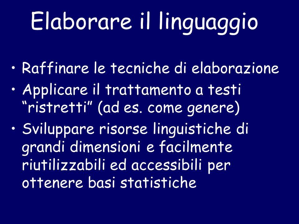 Elaborare il linguaggio Raffinare le tecniche di elaborazione Applicare il trattamento a testi ristretti (ad es.