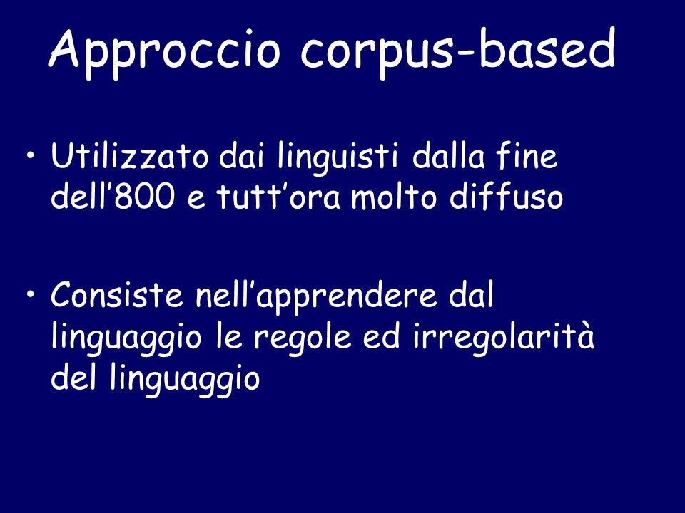 Approccio corpus-based Utilizzato dai linguisti dalla fine dell800 e tuttora molto diffuso Consiste nellapprendere dal linguaggio le regole ed irregolarità del linguaggio