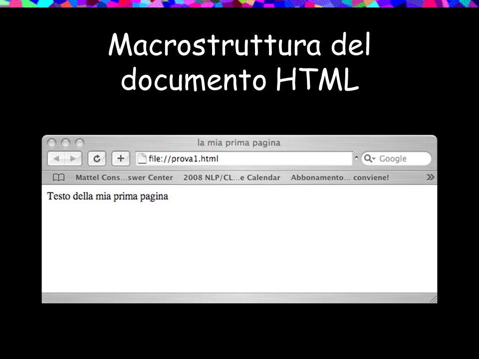 Macrostruttura del documento HTML