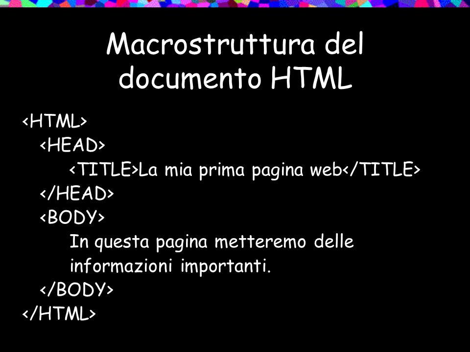 Macrostruttura del documento HTML La mia prima pagina web In questa pagina metteremo delle informazioni importanti.