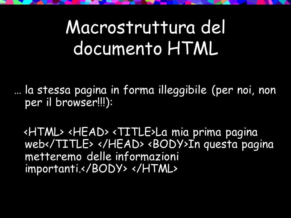 Macrostruttura del documento HTML … la stessa pagina in forma illeggibile (per noi, non per il browser!!!): La mia prima pagina web In questa pagina metteremo delle informazioni importanti.