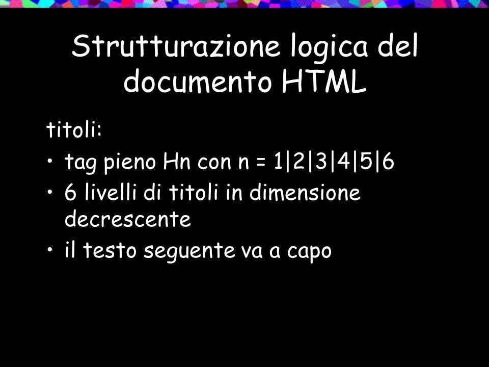 Strutturazione logica del documento HTML titoli: tag pieno Hn con n = 1|2|3|4|5|6 6 livelli di titoli in dimensione decrescente il testo seguente va a