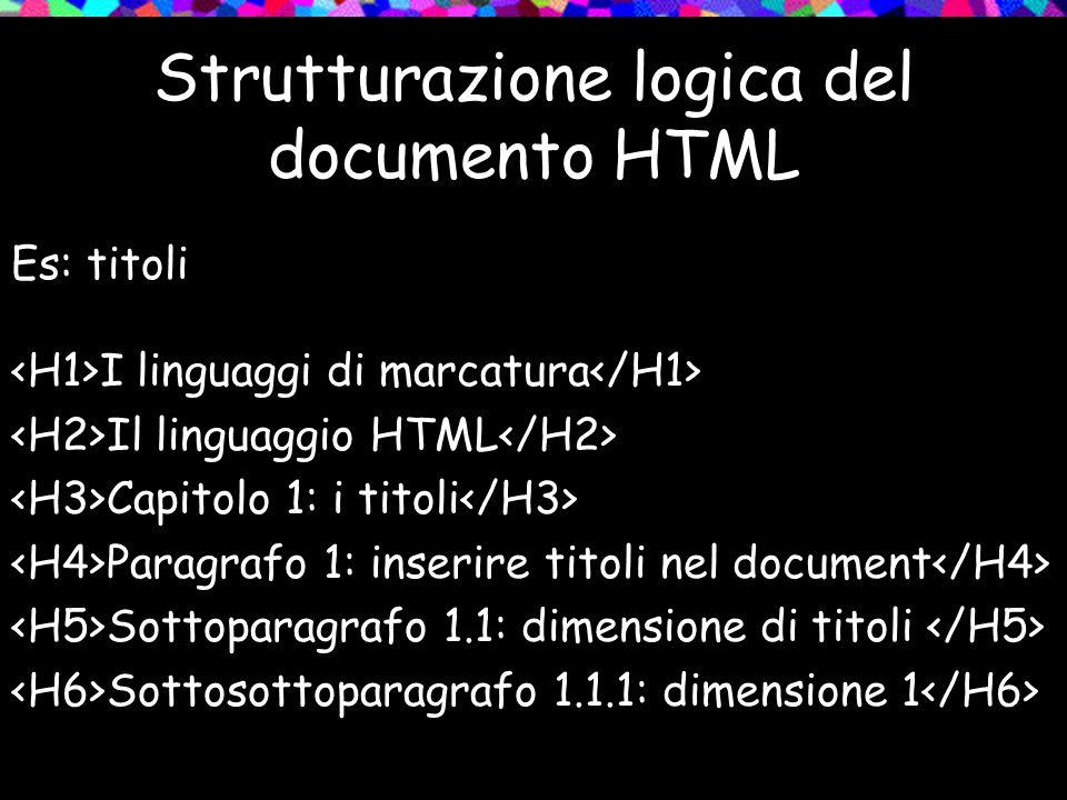 Strutturazione logica del documento HTML Es: titoli I linguaggi di marcatura Il linguaggio HTML Capitolo 1: i titoli Paragrafo 1: inserire titoli nel document Sottoparagrafo 1.1: dimensione di titoli Sottosottoparagrafo 1.1.1: dimensione 1