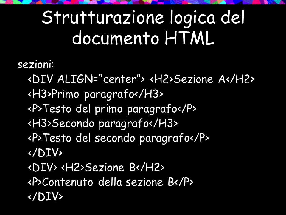 Strutturazione logica del documento HTML sezioni: Sezione A Primo paragrafo Testo del primo paragrafo Secondo paragrafo Testo del secondo paragrafo Sezione B Contenuto della sezione B