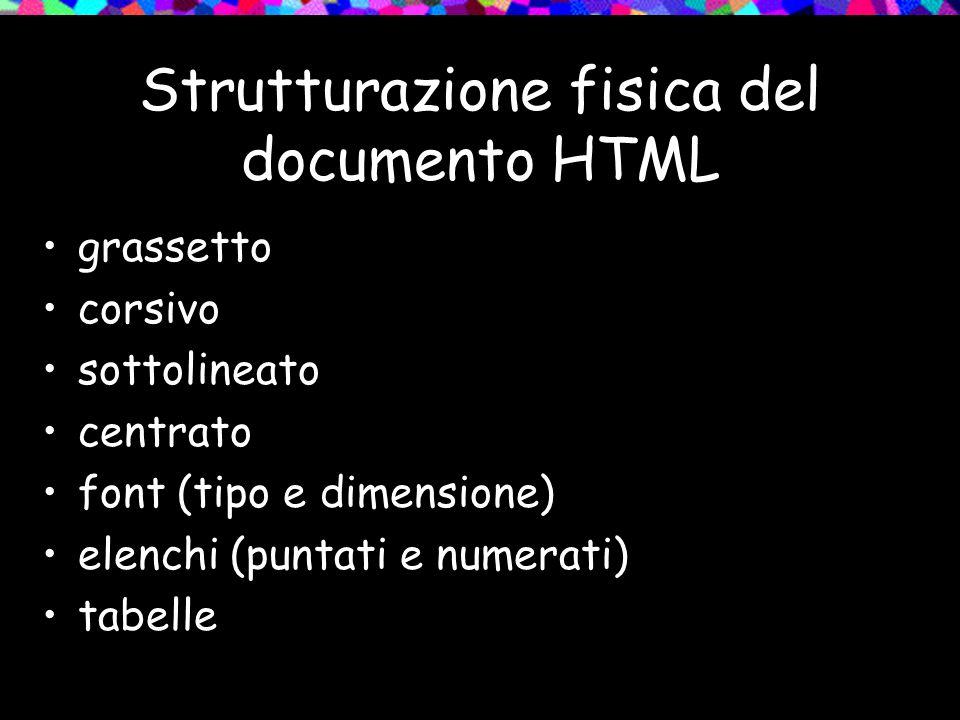 Strutturazione fisica del documento HTML grassetto corsivo sottolineato centrato font (tipo e dimensione) elenchi (puntati e numerati) tabelle