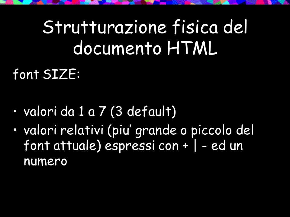 Strutturazione fisica del documento HTML font SIZE: valori da 1 a 7 (3 default) valori relativi (piu grande o piccolo del font attuale) espressi con + | - ed un numero