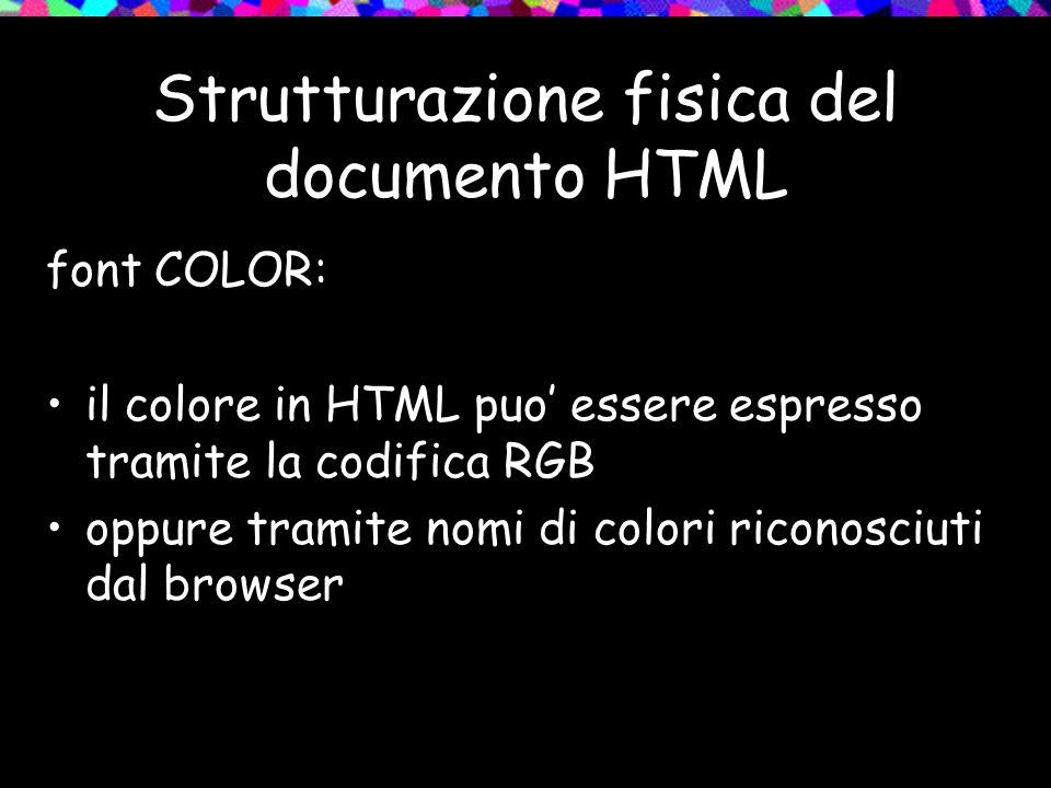 Strutturazione fisica del documento HTML font COLOR: il colore in HTML puo essere espresso tramite la codifica RGB oppure tramite nomi di colori riconosciuti dal browser