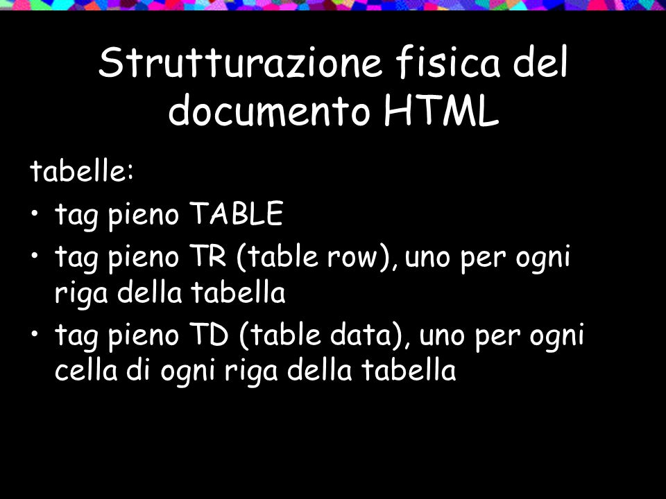 Strutturazione fisica del documento HTML tabelle: tag pieno TABLE tag pieno TR (table row), uno per ogni riga della tabella tag pieno TD (table data), uno per ogni cella di ogni riga della tabella
