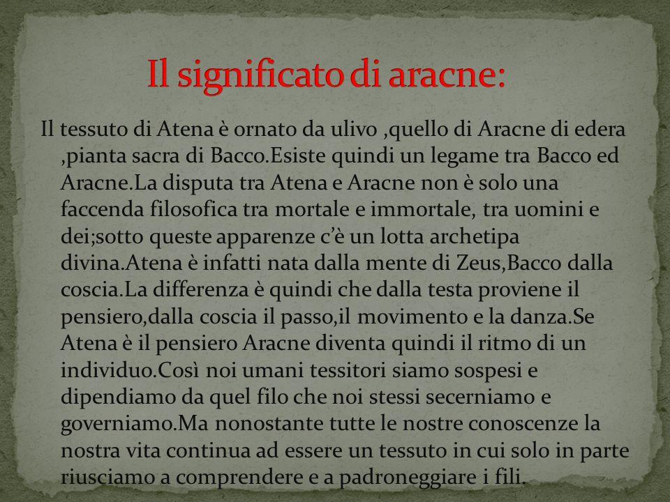 Il tessuto di Atena è ornato da ulivo,quello di Aracne di edera,pianta sacra di Bacco.Esiste quindi un legame tra Bacco ed Aracne.La disputa tra Atena