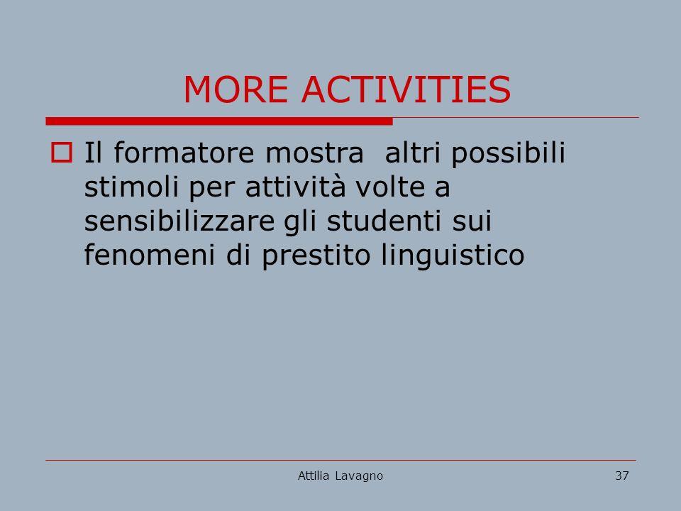 Attilia Lavagno37 MORE ACTIVITIES Il formatore mostra altri possibili stimoli per attività volte a sensibilizzare gli studenti sui fenomeni di prestito linguistico