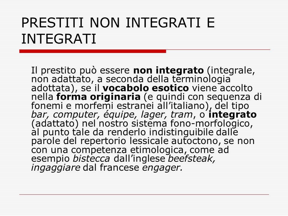 PRESTITI NON INTEGRATI E INTEGRATI Il prestito può essere non integrato (integrale, non adattato, a seconda della terminologia adottata), se il vocabo