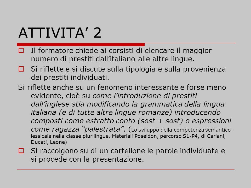 ATTIVITA 2 Il formatore chiede ai corsisti di elencare il maggior numero di prestiti dallitaliano alle altre lingue. Si riflette e si discute sulla ti