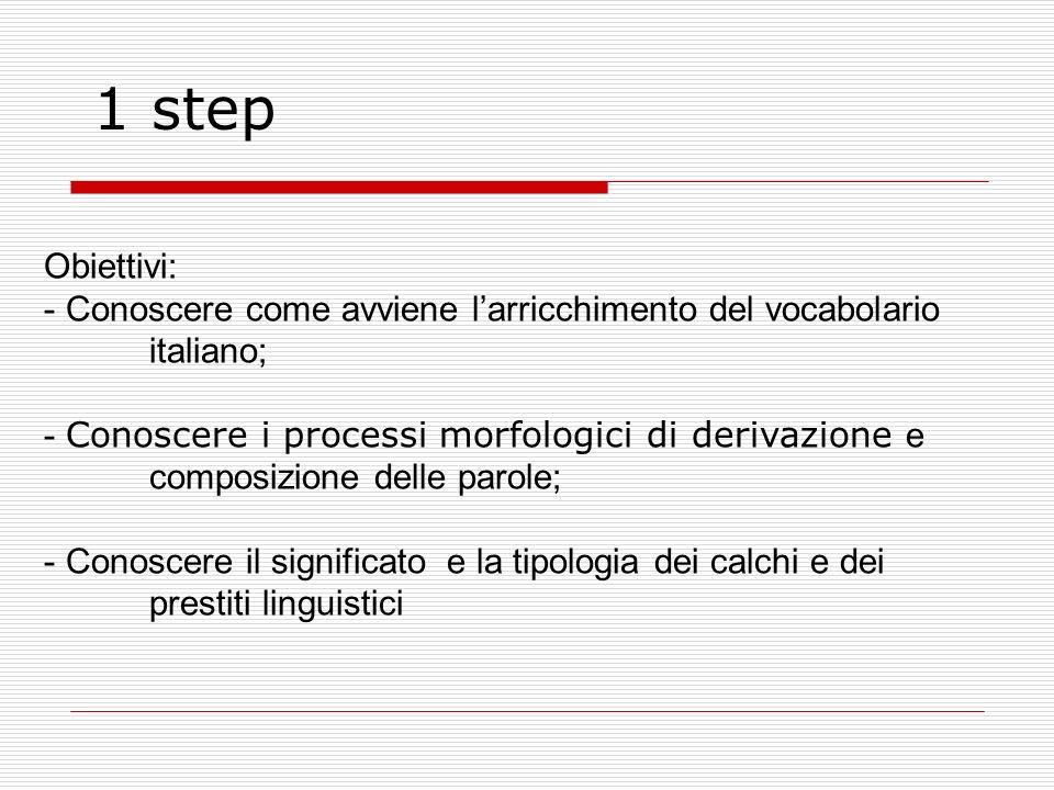 Step 3 -Saper individuare allinterno di testi italiani i prestiti dalle altre lingue; -Costruire campi semantici -Usare il dizionario (anche etimologico)
