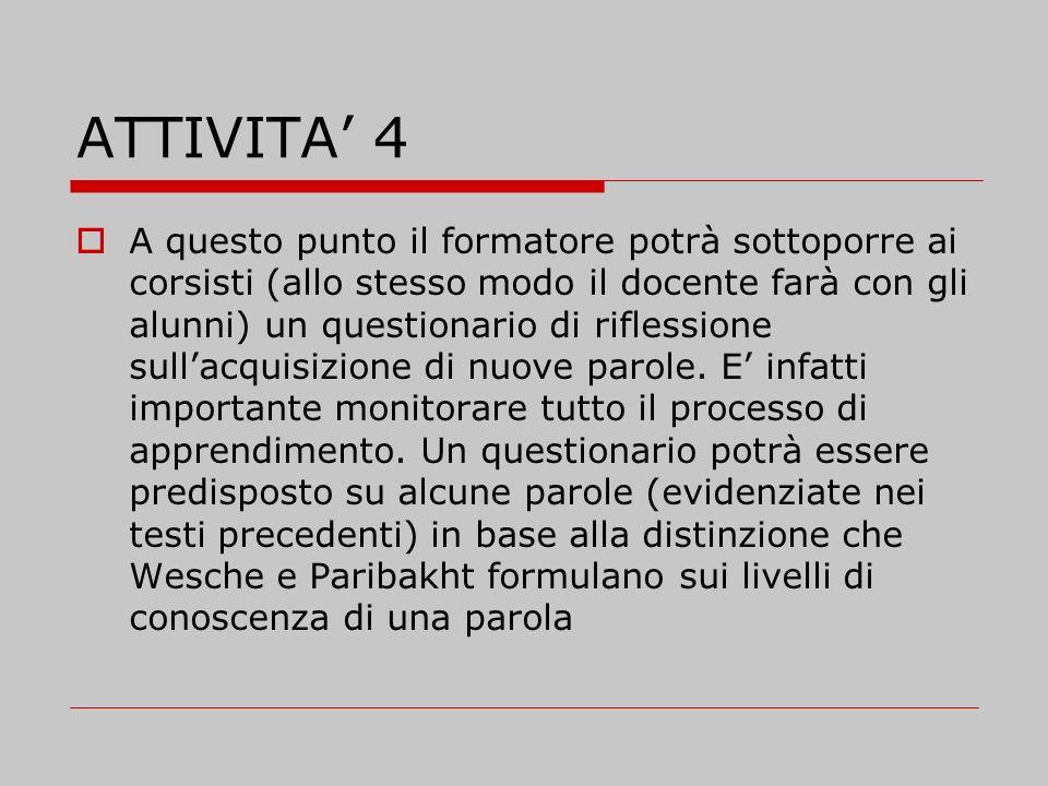ATTIVITA 4 A questo punto il formatore potrà sottoporre ai corsisti (allo stesso modo il docente farà con gli alunni) un questionario di riflessione s