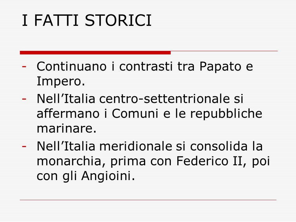 I FATTI STORICI -Continuano i contrasti tra Papato e Impero. -NellItalia centro-settentrionale si affermano i Comuni e le repubbliche marinare. -NellI