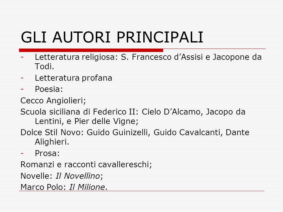 GLI AUTORI PRINCIPALI -Letteratura religiosa: S. Francesco dAssisi e Jacopone da Todi. -Letteratura profana -Poesia: Cecco Angiolieri; Scuola sicilian