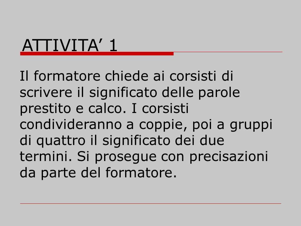Step 2 - Conoscere i prestiti dallitaliano alle altre lingue