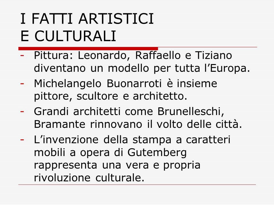 I FATTI ARTISTICI E CULTURALI -Pittura: Leonardo, Raffaello e Tiziano diventano un modello per tutta lEuropa. -Michelangelo Buonarroti è insieme pitto