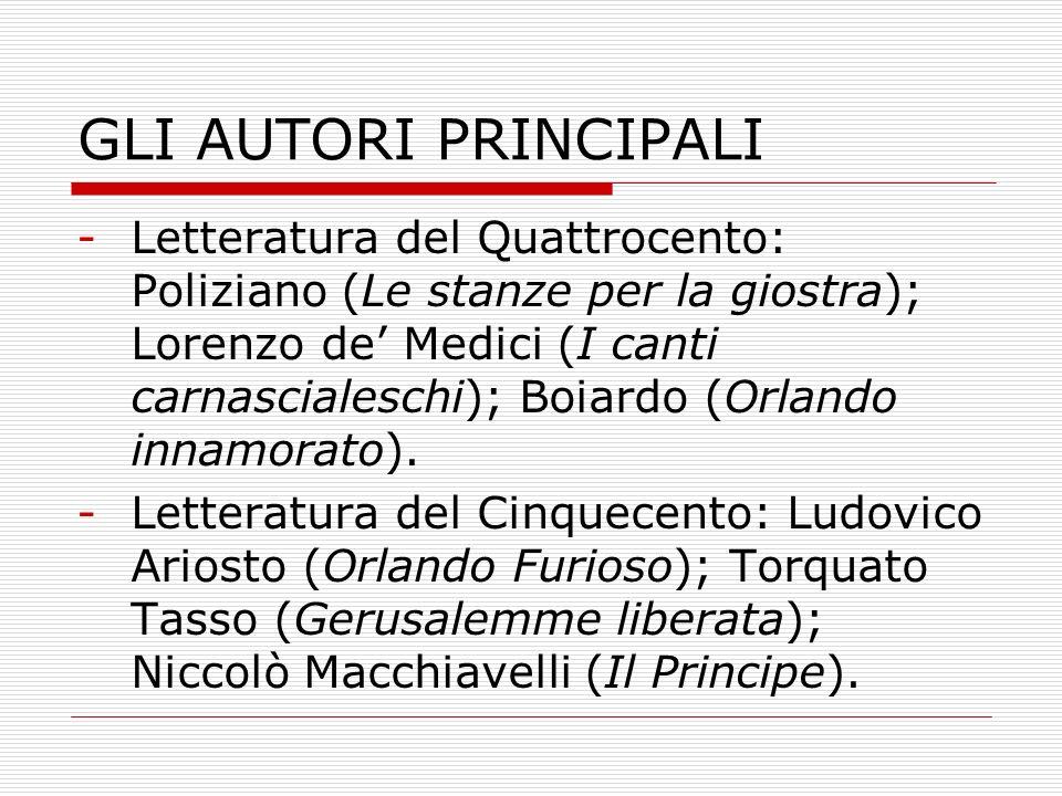 GLI AUTORI PRINCIPALI -Letteratura del Quattrocento: Poliziano (Le stanze per la giostra); Lorenzo de Medici (I canti carnascialeschi); Boiardo (Orlan