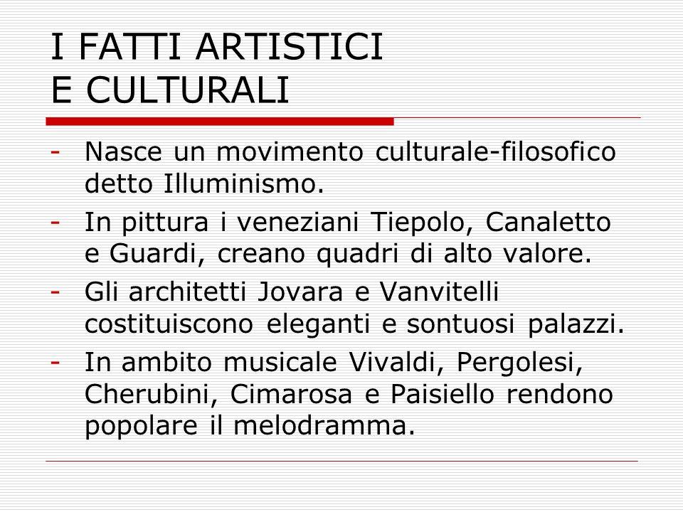 I FATTI ARTISTICI E CULTURALI -Nasce un movimento culturale-filosofico detto Illuminismo. -In pittura i veneziani Tiepolo, Canaletto e Guardi, creano