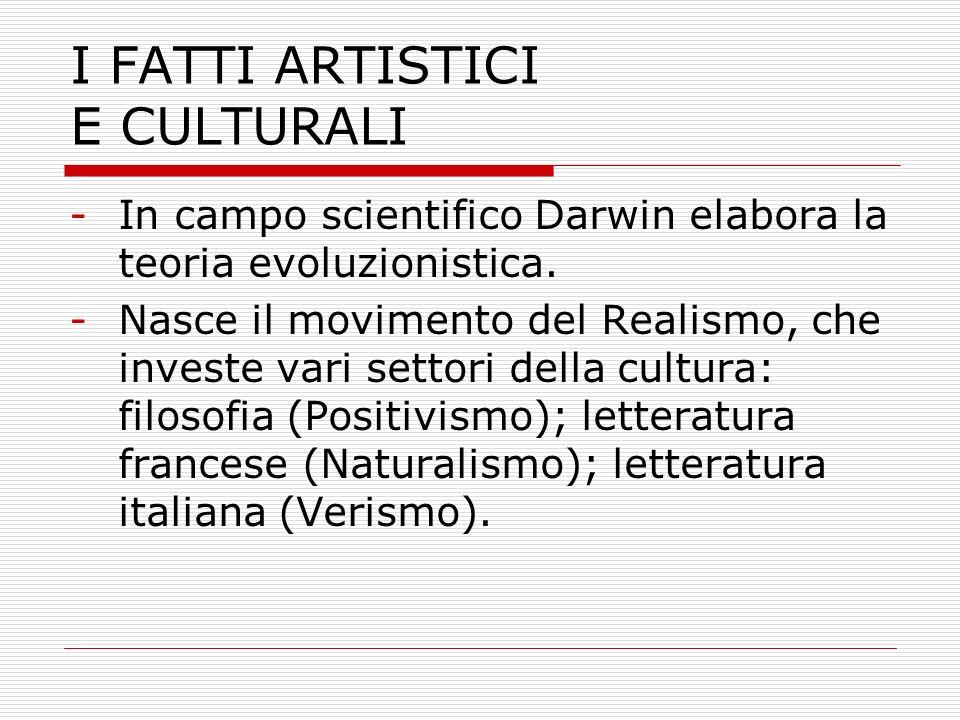 I FATTI ARTISTICI E CULTURALI -In campo scientifico Darwin elabora la teoria evoluzionistica. -Nasce il movimento del Realismo, che investe vari setto