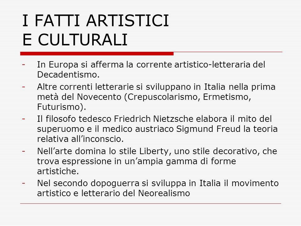 I FATTI ARTISTICI E CULTURALI -In Europa si afferma la corrente artistico-letteraria del Decadentismo. -Altre correnti letterarie si sviluppano in Ita