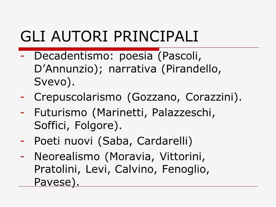 GLI AUTORI PRINCIPALI -Decadentismo: poesia (Pascoli, DAnnunzio); narrativa (Pirandello, Svevo). -Crepuscolarismo (Gozzano, Corazzini). -Futurismo (Ma