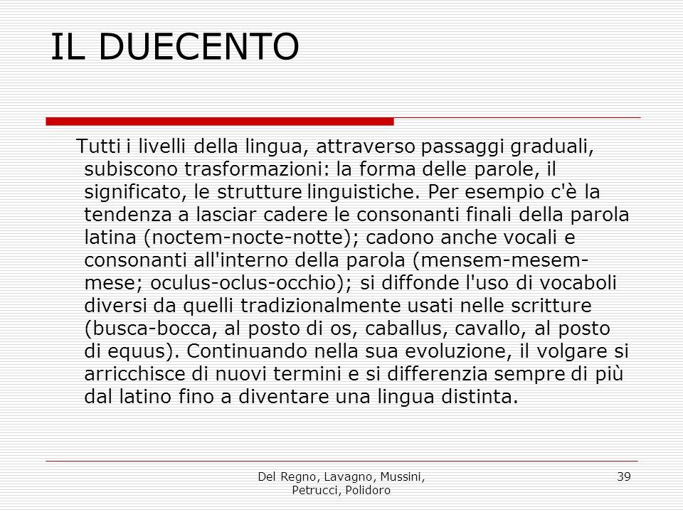 Del Regno, Lavagno, Mussini, Petrucci, Polidoro 39 IL DUECENTO Tutti i livelli della lingua, attraverso passaggi graduali, subiscono trasformazioni: la forma delle parole, il significato, le strutture linguistiche.