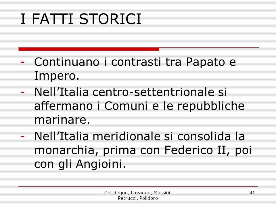 Del Regno, Lavagno, Mussini, Petrucci, Polidoro 41 I FATTI STORICI -Continuano i contrasti tra Papato e Impero.