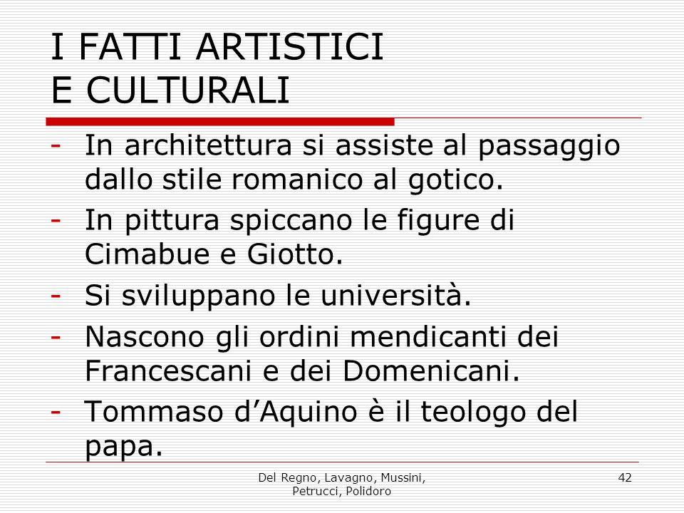 Del Regno, Lavagno, Mussini, Petrucci, Polidoro 42 I FATTI ARTISTICI E CULTURALI -In architettura si assiste al passaggio dallo stile romanico al gotico.