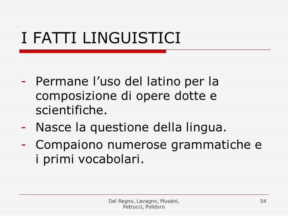 Del Regno, Lavagno, Mussini, Petrucci, Polidoro 54 I FATTI LINGUISTICI -Permane luso del latino per la composizione di opere dotte e scientifiche.