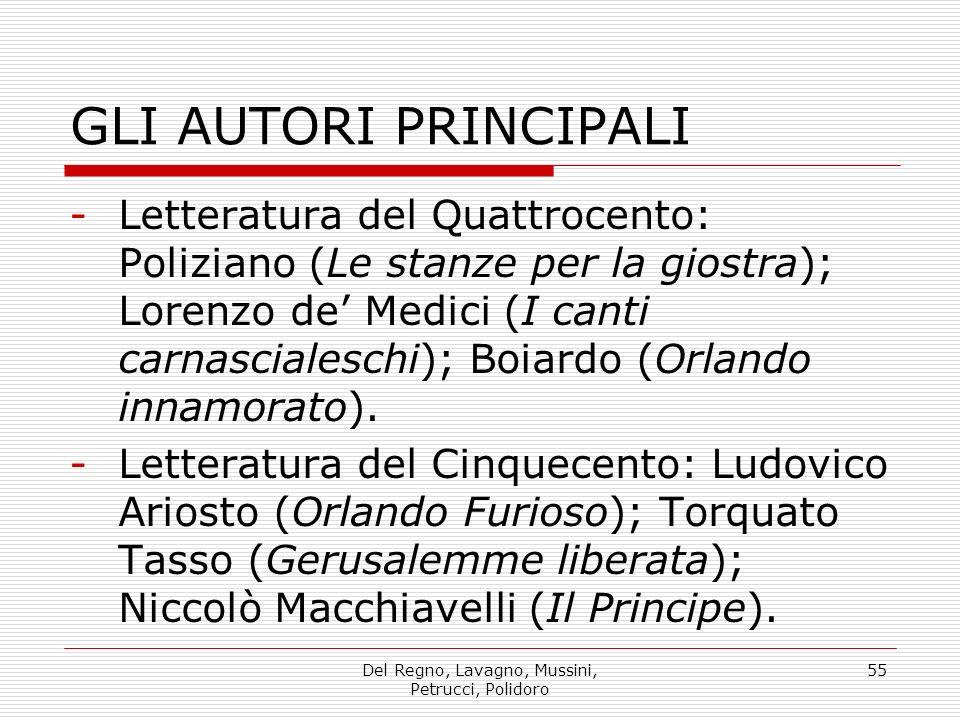 Del Regno, Lavagno, Mussini, Petrucci, Polidoro 55 GLI AUTORI PRINCIPALI -Letteratura del Quattrocento: Poliziano (Le stanze per la giostra); Lorenzo de Medici (I canti carnascialeschi); Boiardo (Orlando innamorato).