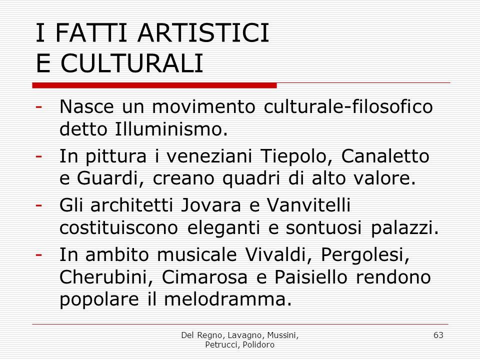 Del Regno, Lavagno, Mussini, Petrucci, Polidoro 63 I FATTI ARTISTICI E CULTURALI -Nasce un movimento culturale-filosofico detto Illuminismo.