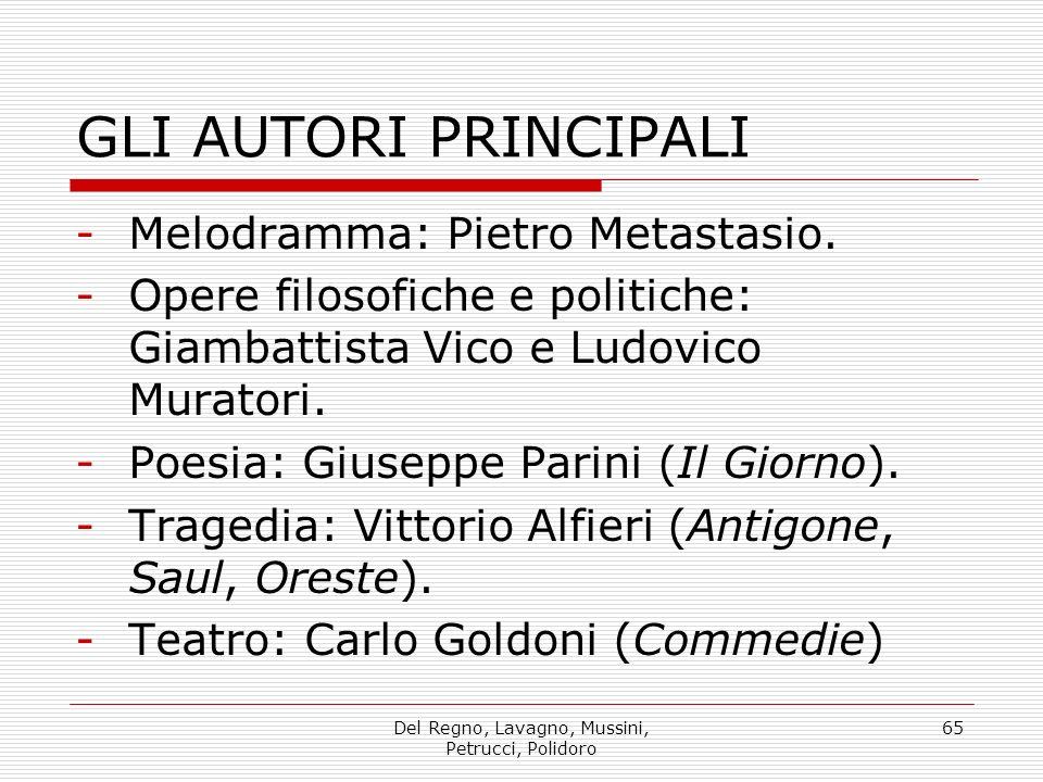 Del Regno, Lavagno, Mussini, Petrucci, Polidoro 65 GLI AUTORI PRINCIPALI -Melodramma: Pietro Metastasio.