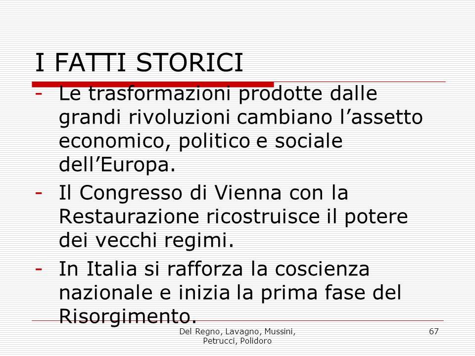 Del Regno, Lavagno, Mussini, Petrucci, Polidoro 67 I FATTI STORICI -Le trasformazioni prodotte dalle grandi rivoluzioni cambiano lassetto economico, politico e sociale dellEuropa.