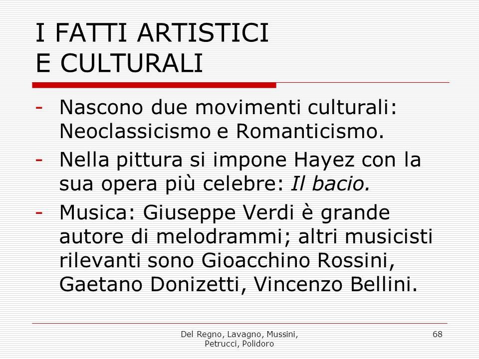Del Regno, Lavagno, Mussini, Petrucci, Polidoro 68 I FATTI ARTISTICI E CULTURALI -Nascono due movimenti culturali: Neoclassicismo e Romanticismo.