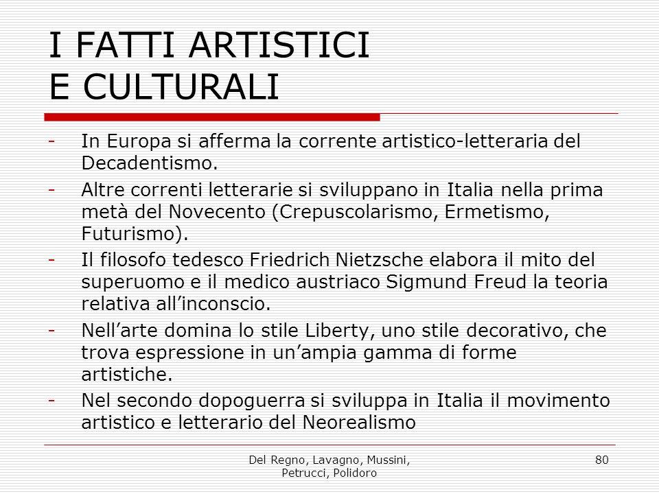 Del Regno, Lavagno, Mussini, Petrucci, Polidoro 80 I FATTI ARTISTICI E CULTURALI -In Europa si afferma la corrente artistico-letteraria del Decadentismo.