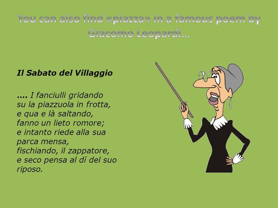 Il Sabato del Villaggio ….