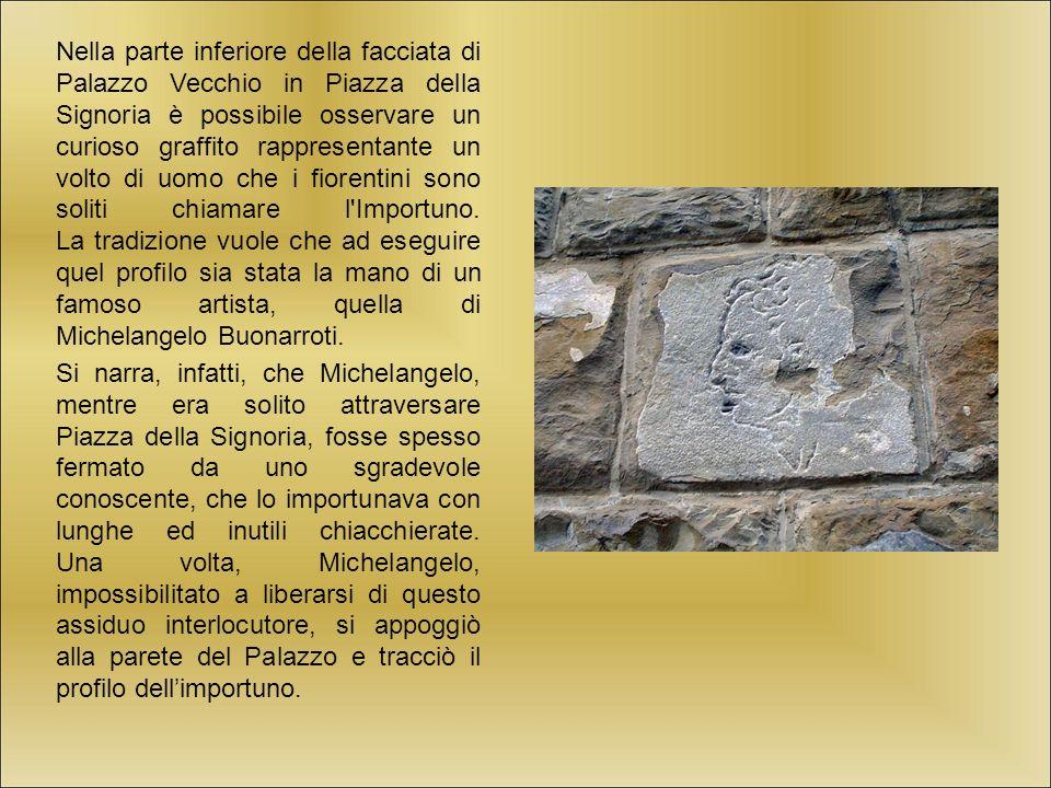 Nella parte inferiore della facciata di Palazzo Vecchio in Piazza della Signoria è possibile osservare un curioso graffito rappresentante un volto di uomo che i fiorentini sono soliti chiamare l Importuno.