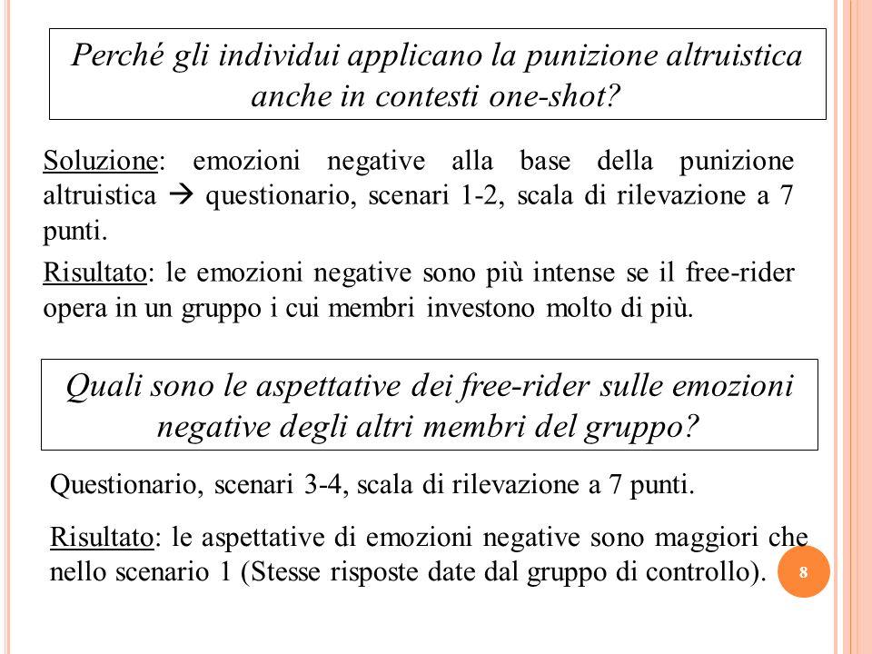Soluzione: emozioni negative alla base della punizione altruistica questionario, scenari 1-2, scala di rilevazione a 7 punti. Risultato: le emozioni n