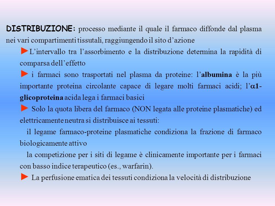 LEGAME ALLE PROTEINE PLASMATICHE albumina LEGAME CON ALBUMINA (farmaci acidi) LEGAME CON 1-2, 1-2, (farmaci basici) Bilirubin, Bile acids, Fatty Acids,Vitamin C, Salicylates, Sulfonamides,Barbiturates, Phenylbutazone,Penicillins, Tetracyclines, Probenecid Adenisine, Quinacrine, Quinine, Streptomycin, Chloramphenicol, Digitoxin, Ouabain, Coumarin