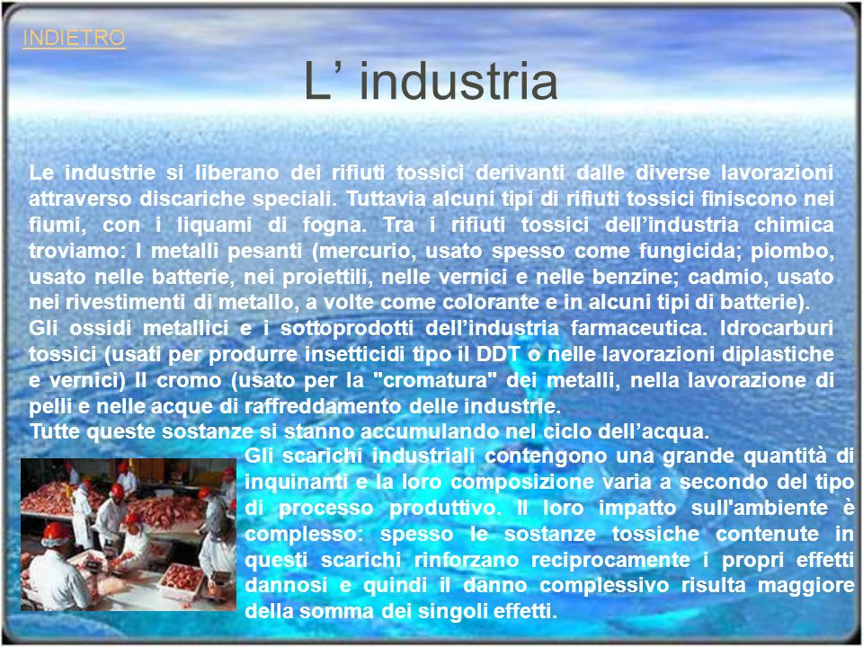 L industria INDIETRO Gli scarichi industriali contengono una grande quantità di inquinanti e la loro composizione varia a secondo del tipo di processo