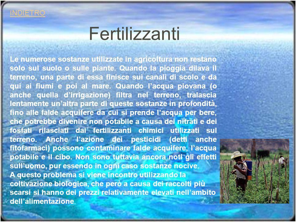 Fertilizzanti INDIETRO Le numerose sostanze utilizzate in agricoltura non restano solo sul suolo o sulle piante. Quando la pioggia dilava il terreno,