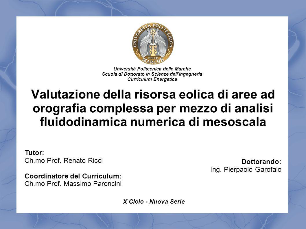 Valutazione della risorsa eolica di aree ad orografia complessa per mezzo di analisi fluidodinamica numerica di mesoscala Tutor: Ch.mo Prof. Renato Ri