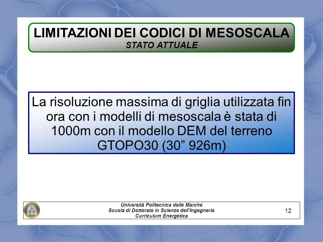 LIMITAZIONI DEI CODICI DI MESOSCALA STATO ATTUALE La risoluzione massima di griglia utilizzata fin ora con i modelli di mesoscala è stata di 1000m con