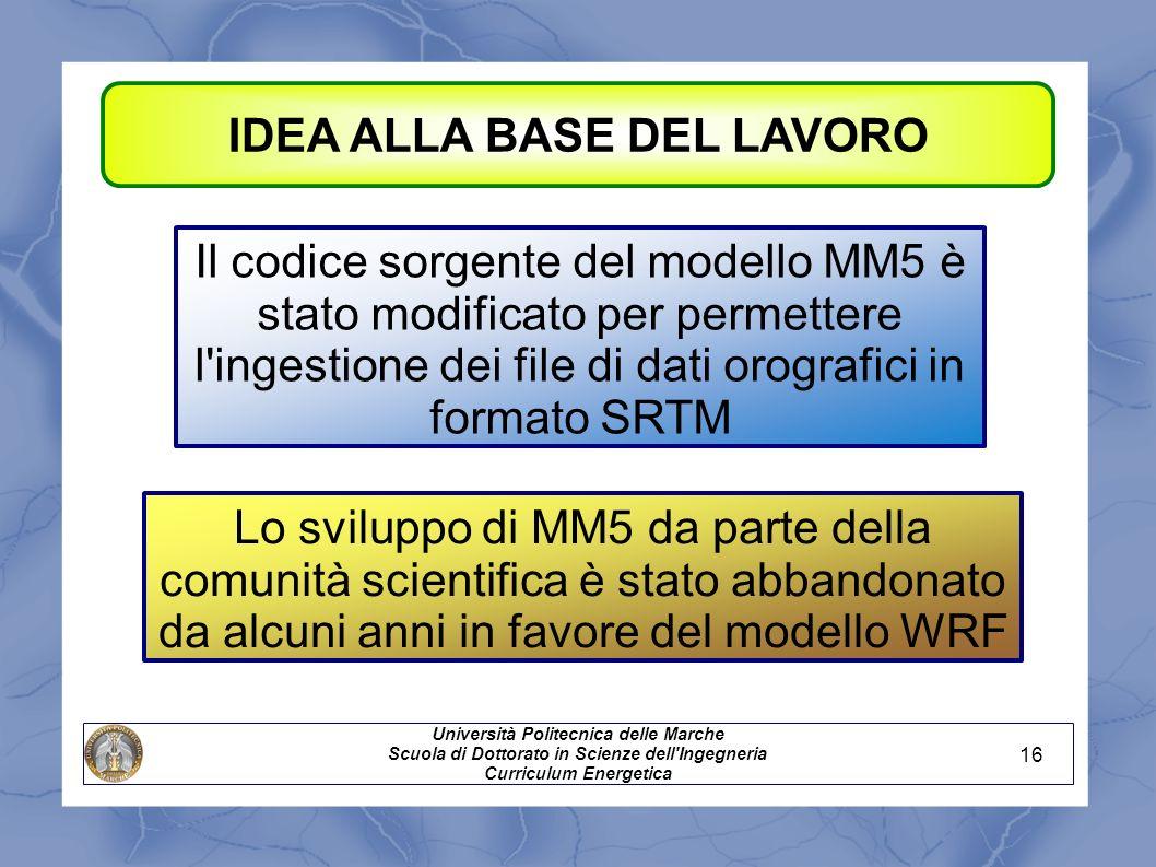 IDEA ALLA BASE DEL LAVORO Il codice sorgente del modello MM5 è stato modificato per permettere l'ingestione dei file di dati orografici in formato SRT
