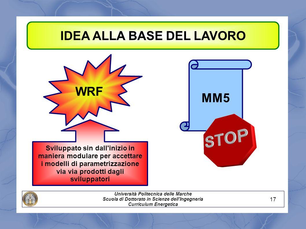 IDEA ALLA BASE DEL LAVORO Università Politecnica delle Marche Scuola di Dottorato in Scienze dell'Ingegneria Curriculum Energetica WRF MM5 Sviluppato