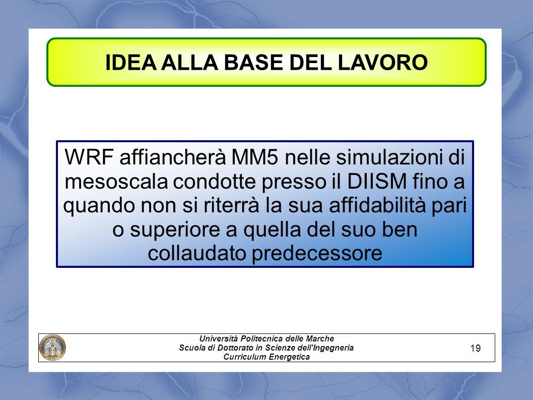 IDEA ALLA BASE DEL LAVORO Università Politecnica delle Marche Scuola di Dottorato in Scienze dell'Ingegneria Curriculum Energetica WRF affiancherà MM5