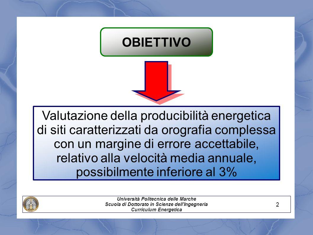 OBIETTIVO Università Politecnica delle Marche Scuola di Dottorato in Scienze dell'Ingegneria Curriculum Energetica Valutazione della producibilità ene